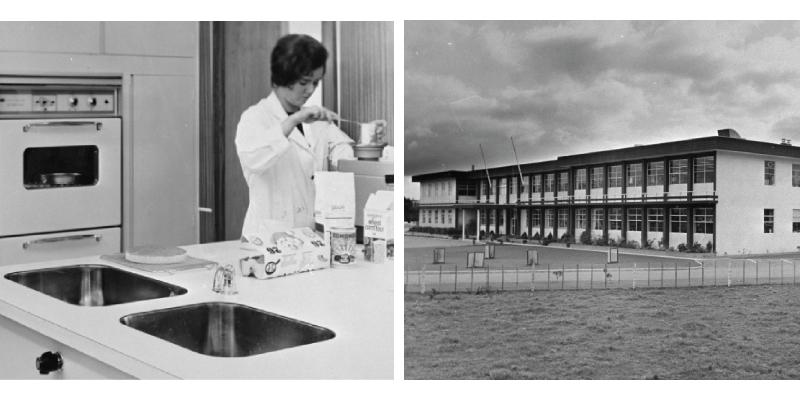 Photo collage of female scientist in a kitchen and view of the old FRDC building
