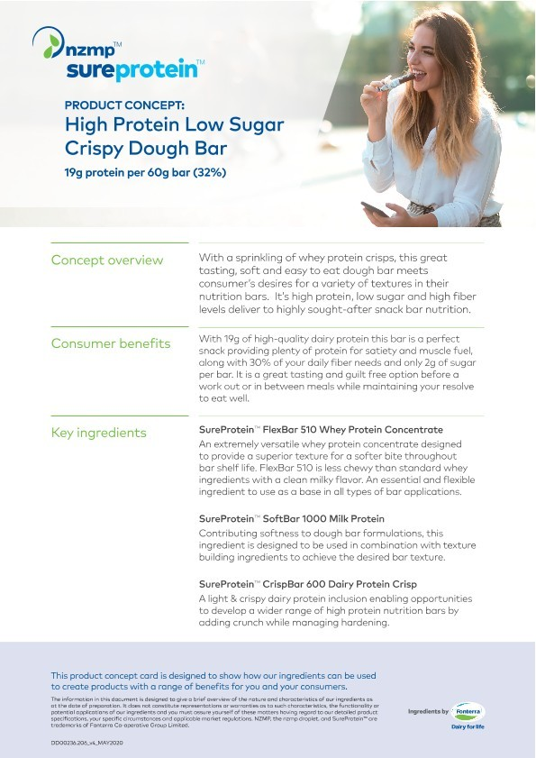 Screenshot of concept card for high protein low sugar crispy dough bar